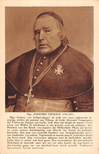 Ansichtkaart R.K. Kerk Mgr. Joannes Zwijsen 1793-1877 Pastoor van Tilburg Bisschop van Den Bosch en Aartsbisschop van Utrecht HC20813