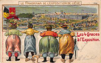 Ansichtkaart België Luik Humor Le Panorama de l'Exposition de Liège 1905 Les 4 Graces a l'Exposition Reliëfkaart Europa HC20828