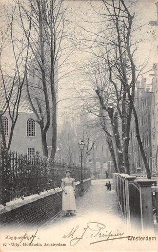 Ansichtkaart Amsterdam Bagijnehofje in de sneeuw winter 1902 HC20876