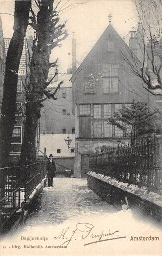 Ansichtkaart Amsterdam Bagijnehofje in de sneeuw winter 1902 HC20877