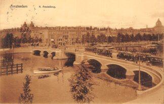 Ansichtkaart Amsterdam N. Amstelbrug met trams 1911 HC20895