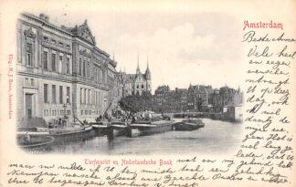 Ansichtkaart Amsterdam Turfmarkt en Nederlandsche Bank Binnenvaart schepen Scheepvaart 1900 HC20908