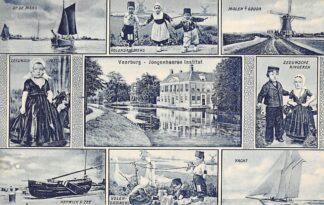 Ansichtkaart Voorburg Jongeheeren Instituut Rechtsboven Gouda Molen Moordrechtse Tiendweg HC20939