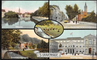 Ansichtkaart 's-Gravenhage Hofvijver Laan van Meerdervoort met nieuwe Gymnasium Tram Boschwachterswoning Koninklijk Paleis 1908 HC20963