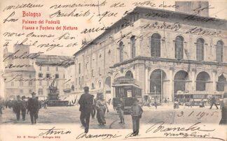 Ansichtkaart Italië Bologna Palazzo del Podesta Piazza e Fontana del Nettuno Tram 1903 Italia Europa HC21066