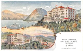 Ansichtkaart Zwitserland Lugano Hotel & Pension St. Gotthard Terminus Schweiz Suisse Switzerland Europa HC21074