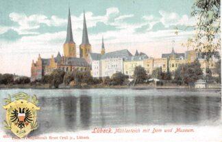 Ansichtkaart Duitsland Lübeck Muhlenteich mit Dom und Museum Deutschland Europa HC21104