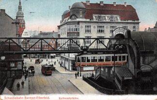 Ansichtkaart Duitsland Barmen - Elberfeld Schwebebahn Rathausbrucke Bahnhofe 1909 Trein Tram Deutschland Europa  HC21122