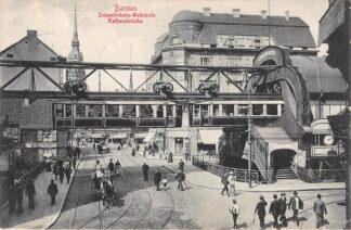 Ansichtkaart Duitsland Barmen Schwebebahn Bahnhofe Rathausbrucke 1909 Trein Deutschland Europa HC21123