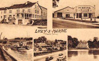Ansichtkaart Frankrijk Luzy-sur-Marne Garage Purfina met benzinepomp Hotel Bousejour Restaurant Kanaal met binnenvaart schepen France Europa HC21258