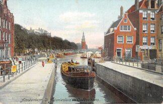 Ansichtkaart Amsterdam St. Antonie sluis en Oudeschans 1908 Binnenvaartschip Amstelland 1 Scheepvaart HC21352