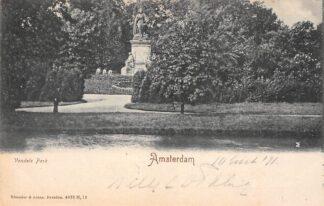 Ansichtkaart Amsterdam Vondels Park met monument HC21386