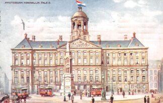 Ansichtkaart Amsterdam Koninklijk Paleis 1909 Trams HC21388