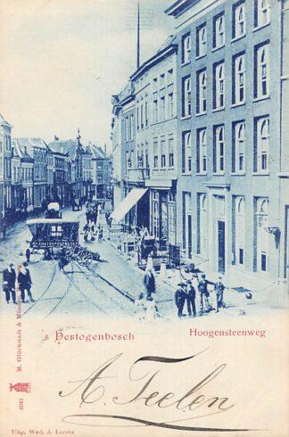 Ansichtkaart 's-Hertogenbosch Hoogensteenweg Reparatie tram rails door Staats spoorwegen 1900 HC21393