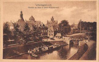 Ansichtkaart 's-Hertogenbosch Gezicht op Sluis O Zuid-Willemsvaart 1922 Binnenvaart schepen Scheepvaart HC21396