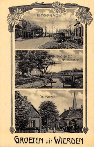 Ansichtkaart Wierden Groeten uit Rijssenscheweg Brug bij Exo en Dorpstraat Bij Almelo Twente HC21486
