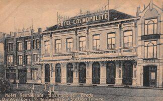 Ansichtkaart Breda Reclame Hotel Restaurant Cosmopolite D. v. Woerkom v/h Restaurateur Station Tilburg HC21514