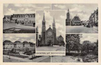 Ansichtkaart Roosendaal Station Knipplein Emil van Loonpark Markt en Paters kerk 1941 HC21585