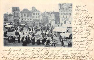 Ansichtkaart Middelburg Markt op Marktdag met Trams Volksleven Straatleven HC21613