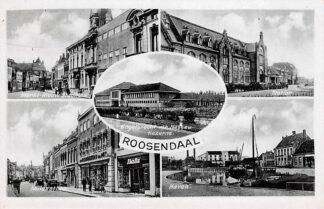 Ansichtkaart Roosendaal Markt Nieuw Stadhuis Kazerne Station Haven en Molenstraat HC21638
