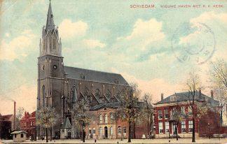 Ansichtkaart Schiedam Nieuwe Haven met R.K. kerk 1907 HC21695