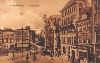Ansichtkaart 's-Gravenhage Groenmarkt 1914 HTM Tram Lijn 4 HC21738