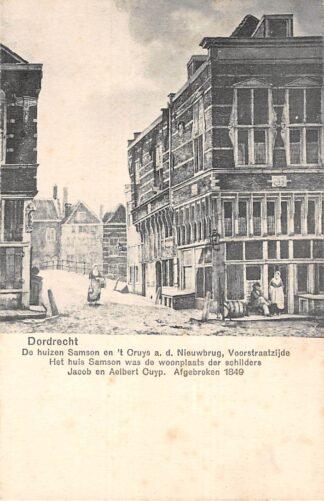 Ansichtkaart Dordrecht De huizen Samson en 't Cruys a.d. Nieuwbrug, Voorstraatzijde HC21798