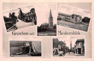 Ansichtkaart Medemblik Geldelozepad Ned. Herv. Kerk Kasteel Radboud Wieringermeer met IJsselmeer en Bagijnhof HC21809
