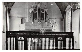 Ansichtkaart Moerkapelle Interieur Ned. Hervormde Kerk met orgel en voormalig koorhek uit de St. Laurenskerk uit Rotterdam 1960 HC21895