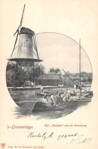 Ansichtkaart 's-Gravenhage Het Molentje aan de Hoornburg Binnenvaart schepen Scheepvaart Molen HC21975