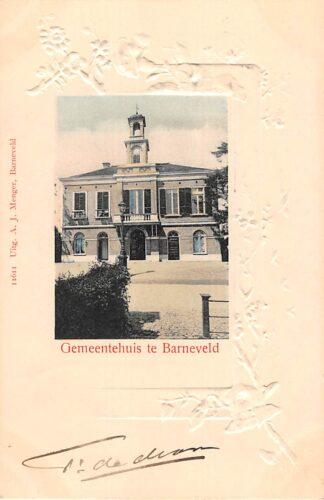 Ansichtkaart Barneveld Gemeentehuis 1903 Prachtige reliëfkaart! HC21977
