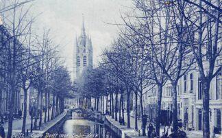 Ansichtkaart Delft Oude Delft met Oude Kerk 1908 HC22003