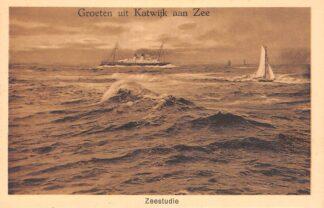 Ansichtkaart Groeten uit Katwijk aan Zee Zeestudie met schepen HC22012