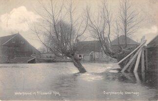 Ansichtkaart Friesland Watersnood 1910 Overstroomde Vaartweg Verstuurd uit Drachten HC22019