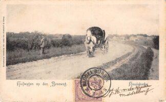 Ansichtkaart Koudekerke Huifwagen op den Breeweg Paard en wagen 1903 Walcheren Veere HC22111