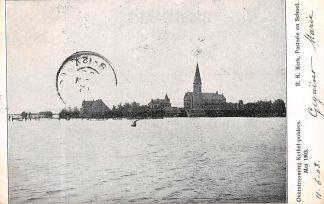 Ansichtkaart Rotterdam Kethel R.K. Kerk Pastorie en School Overstrooming Kethel-polders Mei 1903 HC22126