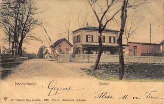Ansichtkaart Voorschoten  Station met spoorwegovergang Spoorwegen 1905 HC22191