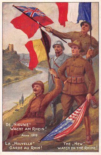 Ansichtkaart Duitsland België Frankrijk Engeland WO1 1914-1918 Spotprent De Nieuwe Wacht am Rhein anno 1919 Deutschland Europa France England HC22261