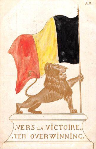 Ansichtkaart België WO1 1914-1918 Ter Overwinning Vers la Victoitre Illustrator A.R. Europa HC22262