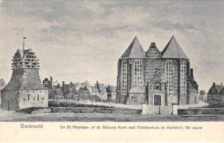 Ansichtkaart Dordrecht De St. Nicolaas- of de Nieuwe Kerk met Klokkenhuis en kerkhof 18e eeuw Begraafplaats HC22300