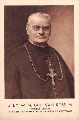 Ansichtkaart Amsterdam Z. Em. W.M. Kardinaal Van Rossum Pauselijk Legaat naar het 27e Intern. Euch. Congres te Amsterdam HC22374