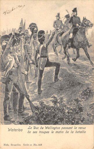 Ansichtkaart België Engeland Le duc de Wellington passant la revue de ses troupes la matin de la bataille Militair England Great Britain Europa HC22379