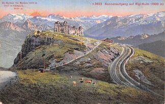 Ansichtkaart Zwitserland Sonnenaufgang auf Rigi-Kuin (1800 m) 1914 Spoorwegen Schweiz Suisse Switzerland Europa HC22413