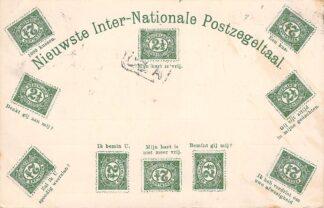 Ansichtkaart Postzegeltaal Nieuwste Inter-Nationale Postzegeltaal 1903 Filatelie Fantasie HC22428