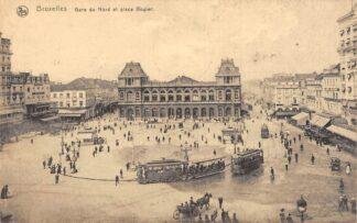 Ansichtkaart België Brussel Bruxelles Gare du Nord et Place Rogler Station Spoorwegen Trams Europa HC22432