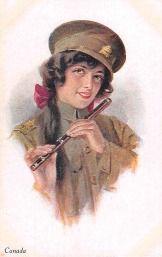 Ansichtkaart Engeland Canada A Vivian Mansell Vintage Postcard Vrouwelijke militair Fantasie England Europa Noord-Amerika HC22489