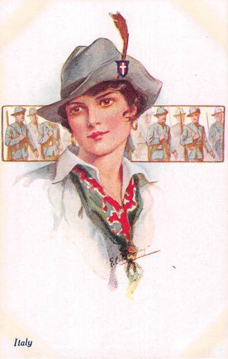 Ansichtkaart Engeland Italy A Vivian Mansell vintage postcard Italië Fantasie Militair Europa HC22495