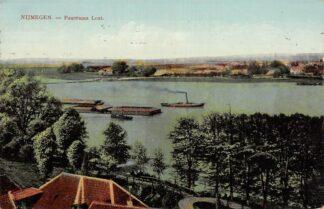 Ansichtkaart Nijmegen Waal Panorama Lent Binnenvaart schepen Scheepvaart 1912 HC22588