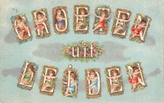 Ansichtkaart Leiden Groeten uit 1918 Mooie reliëfkaart HC22591