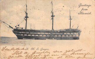 Ansichtkaart Engeland Harwich H.M.S. Gangees Marine Oorlogsschip England Great Britain Europa Scheepvaart HC22783